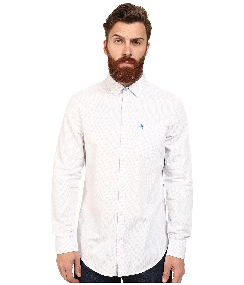 Original Penguin - Mini Dobby Long Sleeve Woven Heritage Shirt (Bright White) Men