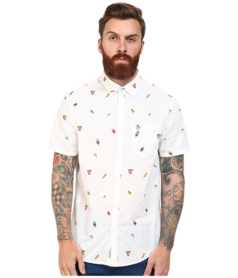 Original Penguin - Carnival Food Print Dobby Woven Short Sleeve Heritage Shirt (Bright White) Men's Short Sleeve Button Up
