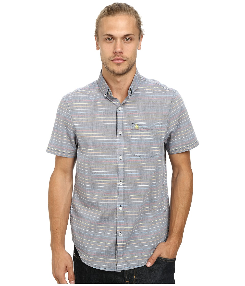Original Penguin - Mini Rainbow Stripe Woven Short Sleeve Heritage Shirt (Dress Blues) Men