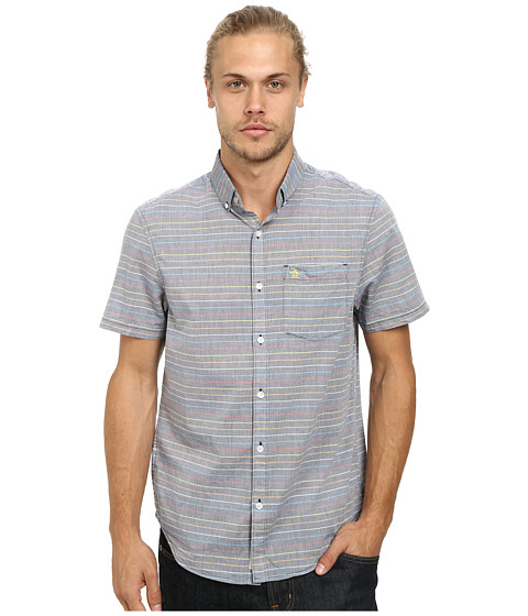 Original Penguin - Mini Rainbow Stripe Woven Short Sleeve Heritage Shirt (Dress Blues) Men's Short Sleeve Button Up