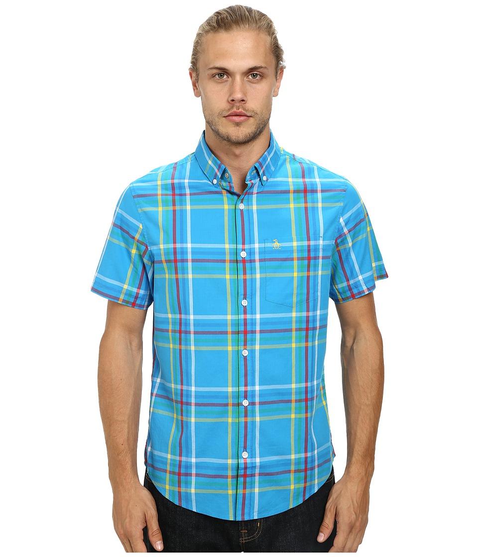 Original Penguin - Multicolor Picnic Plaid Woven Short Sleeve Heritage Shirt (Diva Blue) Men's Short Sleeve Button Up