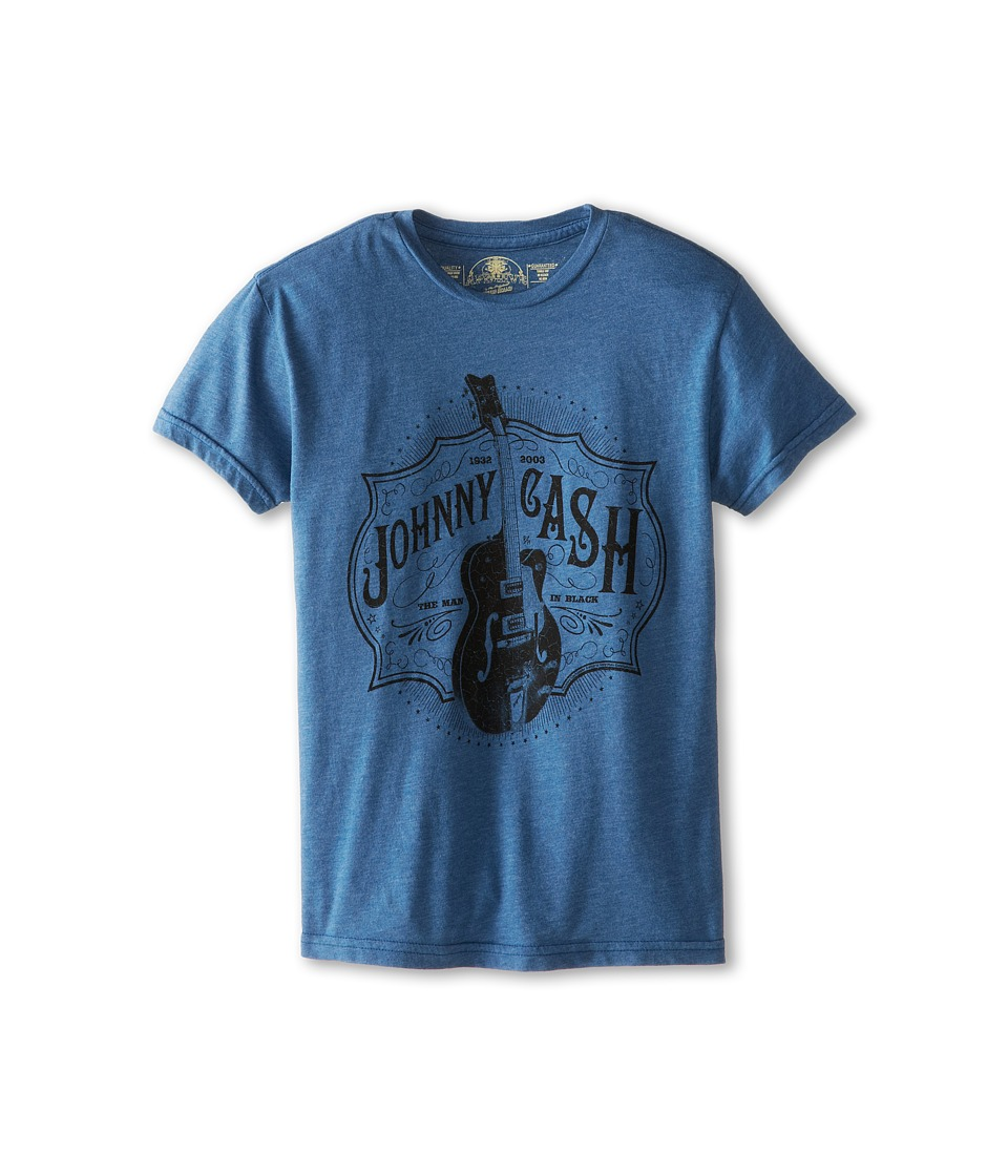 The Original Retro Brand Kids - Johnny Cash Heathered Tee (Big Kids) (Heather Blue) Boy's T Shirt