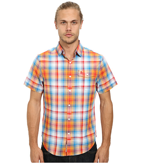 Original Penguin - Ombre Plaid Woven Short Sleeve Heritage Shirt (Racing Red) Men's Short Sleeve Button Up
