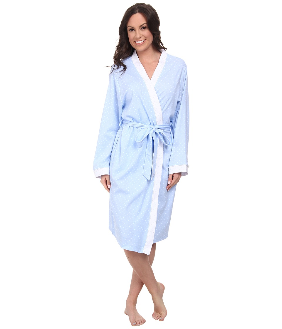 Karen Neuburger - Sweet Life Long Sleeve Kimono Long Robe (Dot/Powder Blue) Women's Robe