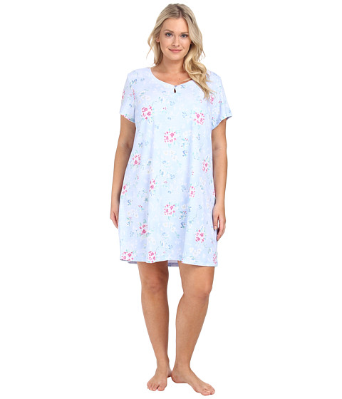 Karen Neuburger - Plus Size Sweet Life Short Sleeve Pullover Nightshirt (Floral/Powder Blue) Women