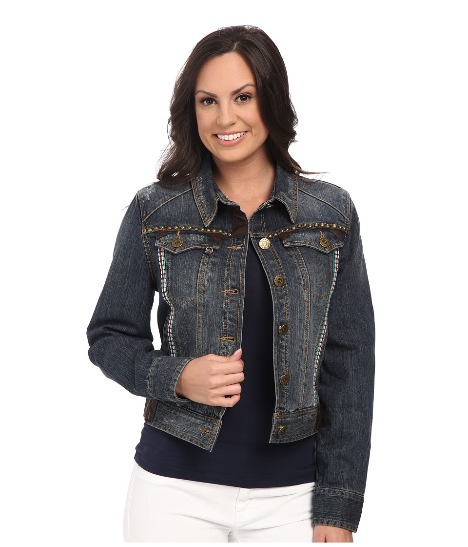 Double D Ranchwear - Shadoeflax Trucker Jacket (Denim) Women's Coat