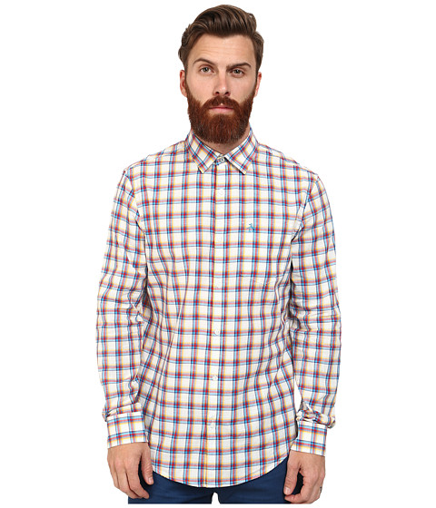 Original Penguin - Medium Size Plaid Long Sleeve Woven Heritage Shirt (Bright White) Men