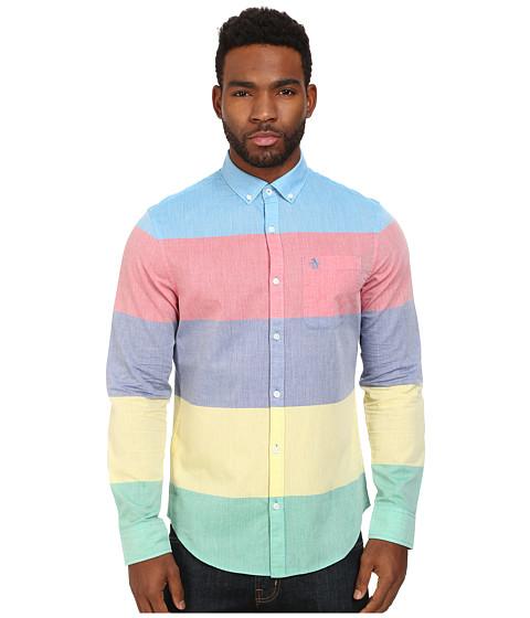 Original Penguin - Color Blocked Long Sleeve Woven Heritage Shirt (Diva Blue) Men