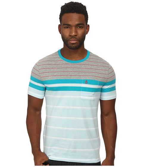 Original Penguin - French Stripe Heritage Tee (Cool Blue) Men