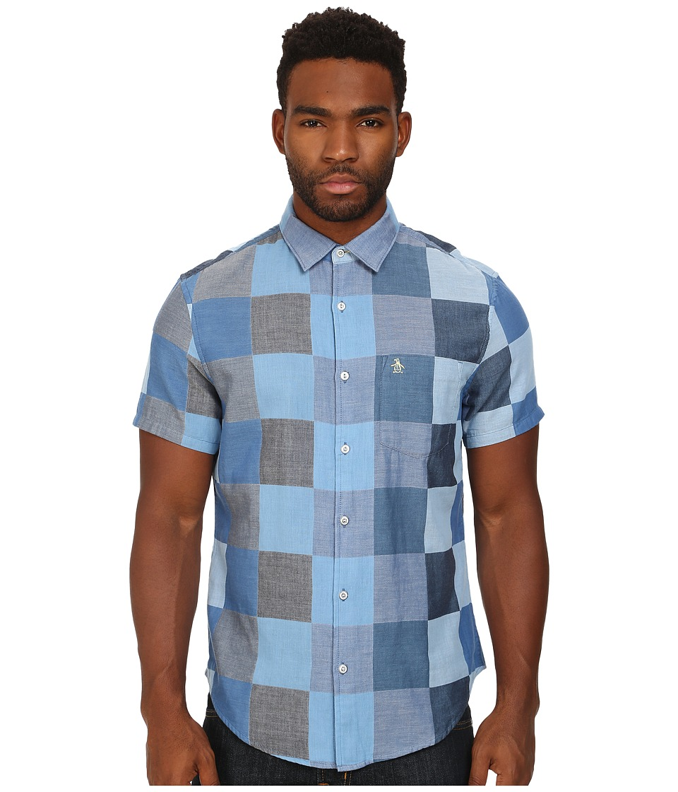 Original Penguin - Large Checkered Chambray Short Sleeve Woven Heritage Shirt (Dress Blues) Men's Short Sleeve Button Up