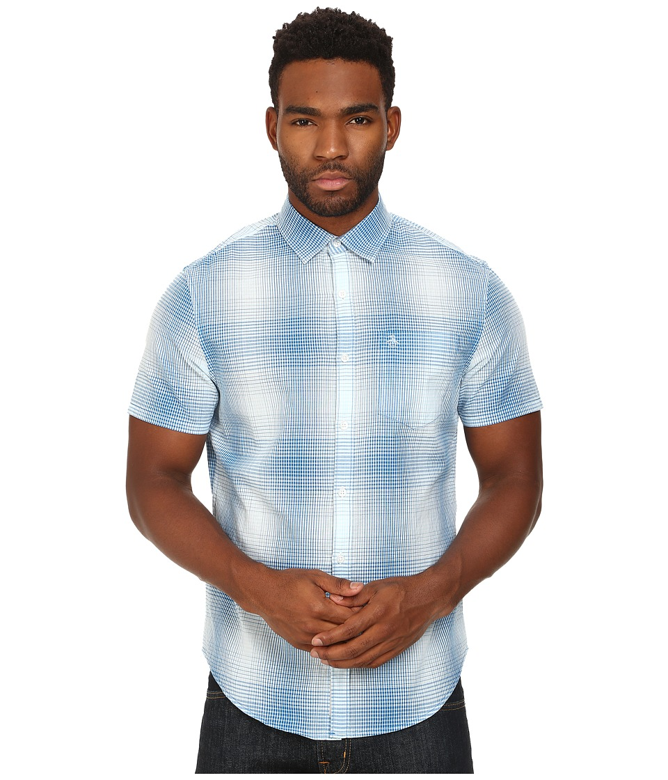 Original Penguin - Gradient Plaid Woven Short Sleeve Heritage Shirt (Skydiver) Men's Short Sleeve Button Up