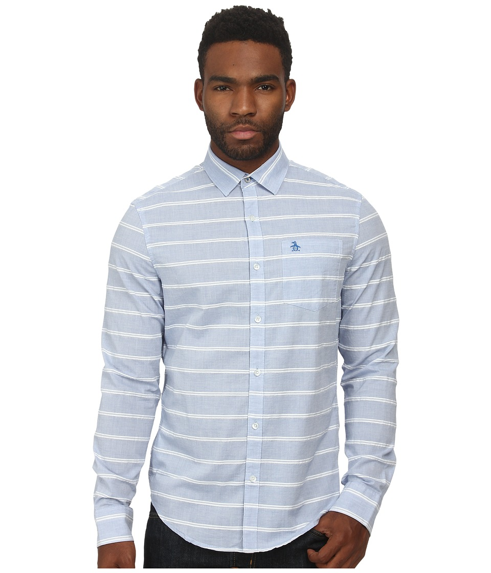 Original Penguin - Horizontal Dobby W. End On End Stripe Long Sleeve Woven Heritage Shirt (Skydiver) Men