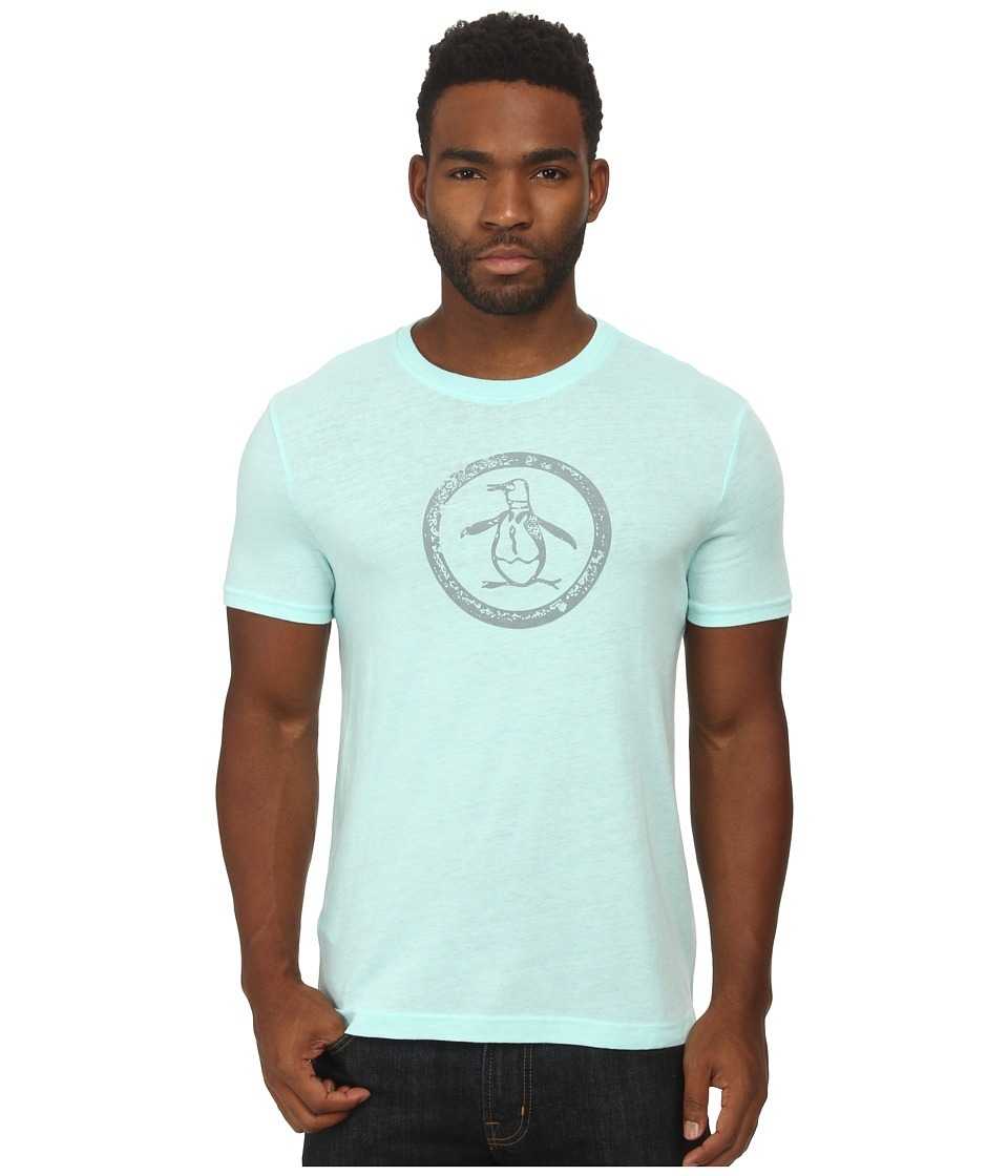 Original Penguin - Triblend Distressed Circle Logo Tee (Blue Tint) Men's T Shirt
