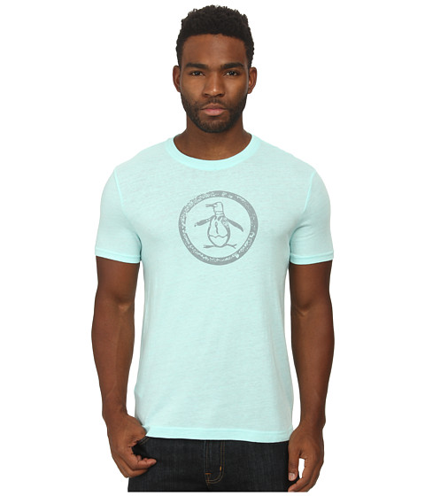 Original Penguin - Triblend Distressed Circle Logo Tee (Blue Tint) Men