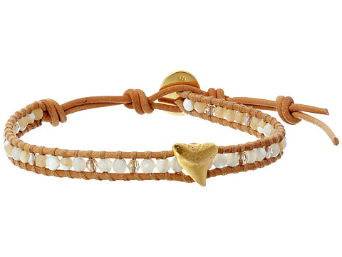 Chan Luu - 6 Semi Precious Single w/ Shark Tooth Charm (White Mix/Beige) Bracelet