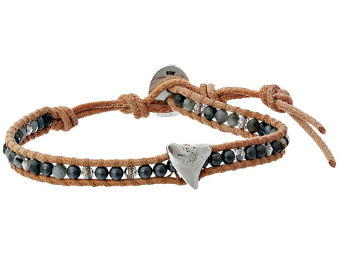 Chan Luu - 6 Semi Precious Single w/ Shark Tooth Charm (Hematine Mix/Beige) Bracelet