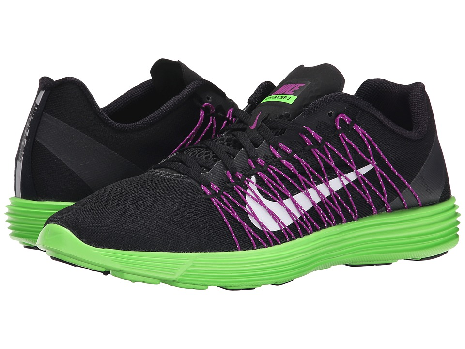 Nike - Lunaracer+ 3 (Black/Green Strike/Vivid Purple/White) Men