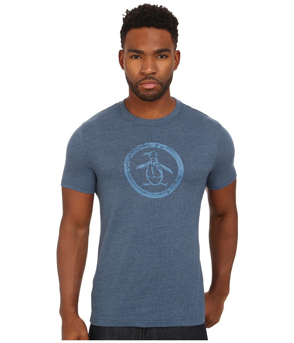 Original Penguin - Triblend Distressed Circle Logo Tee (Dark Denim) Men