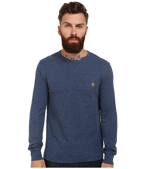 Original Penguin - Reversible Long Sleeve Tee (Dark Denim) Men