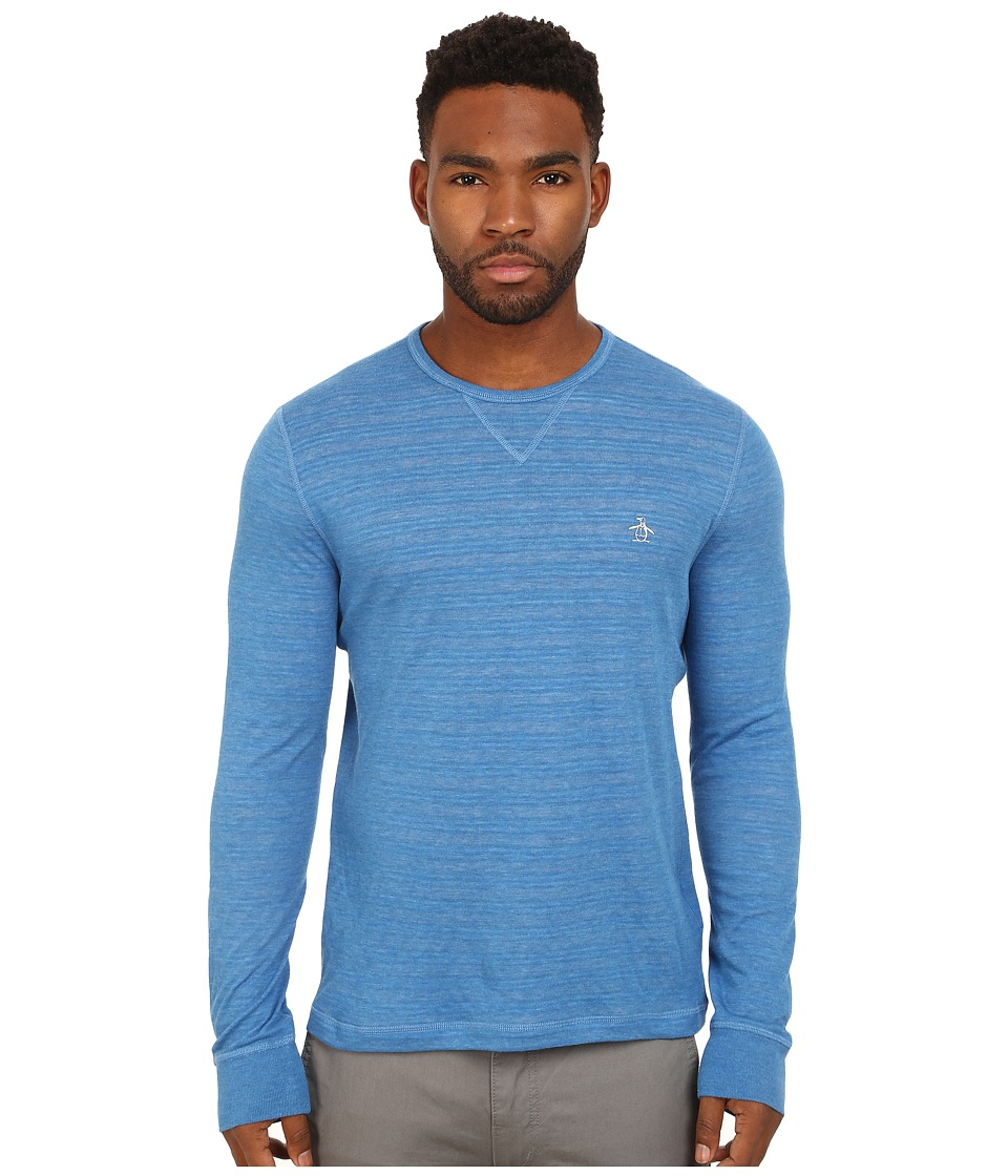 Original Penguin - Reversible Long Sleeve Tee (Vallarta Blue) Men's Clothing