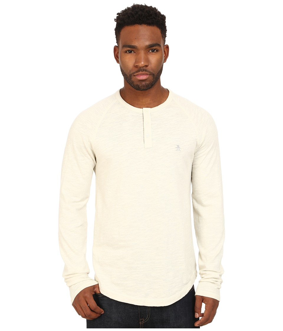Original Penguin - Raglan Slub Henley (Silver Birch) Men