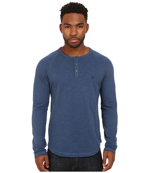 Original Penguin - Raglan Slub Henley (Dark Denim) Men's Clothing