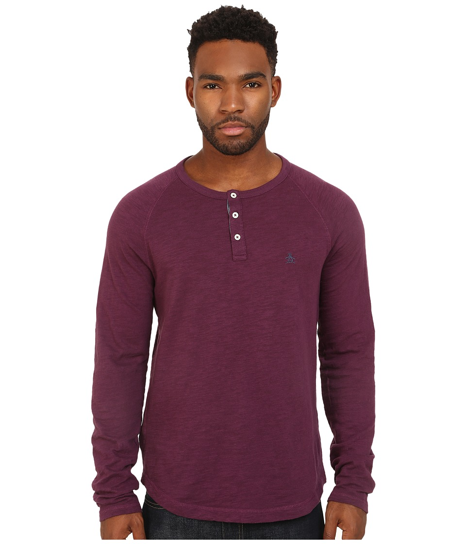 Original Penguin - Raglan Slub Henley (Italian Plum) Men's Clothing