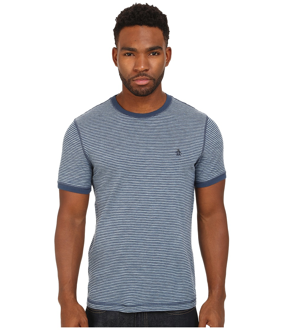 Original Penguin - Slub Feeder Stripe Heritage Tee (Dark Denim) Men's T Shirt