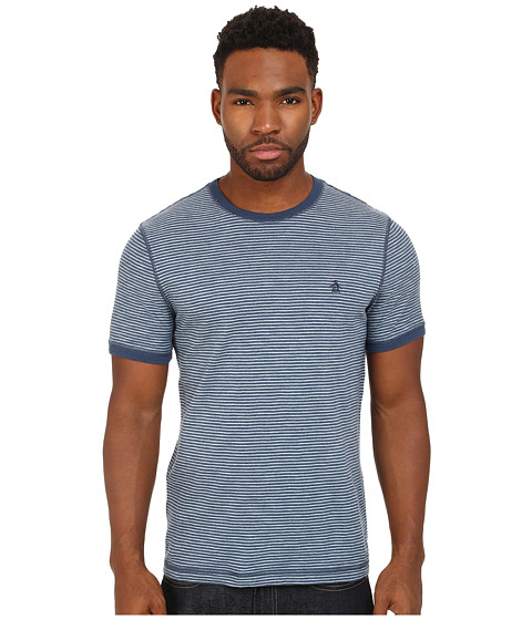 Original Penguin - Slub Feeder Stripe Heritage Tee (Dark Denim) Men