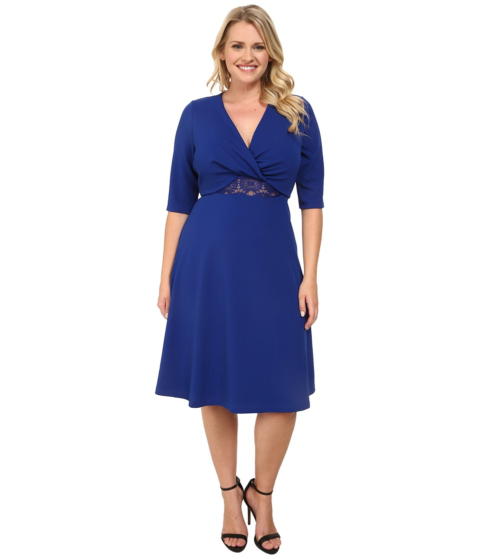 Kiyonna - Peek-A-Boo Dress (Cobalt Blue) Women's Dress