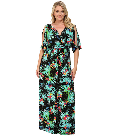 Kiyonna - Seamless Ease Maxi (Tropical Palm Print) Women's Dress