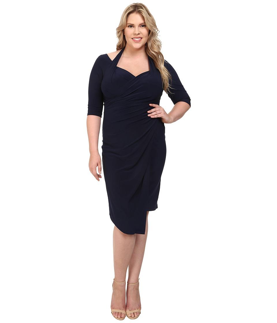 Kiyonna - Foxfire Faux Wrap Dress (Navy) Women