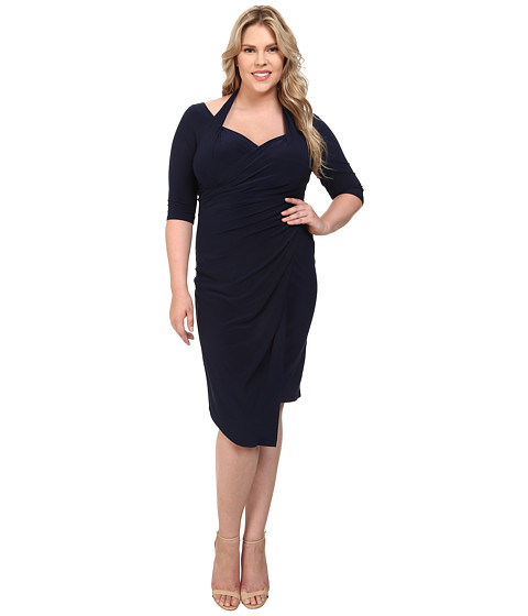 Kiyonna - Foxfire Faux Wrap Dress (Navy) Women's Dress