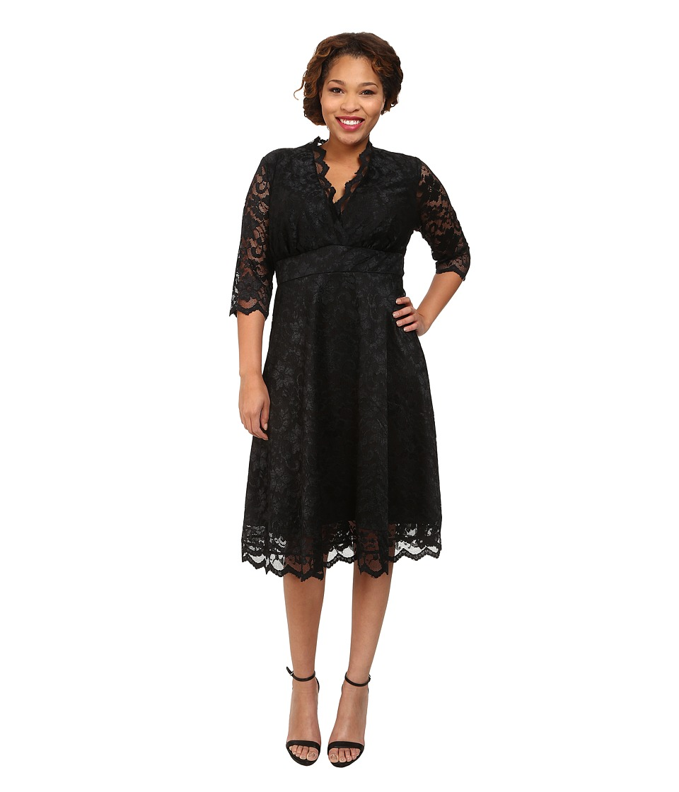 Kiyonna - Mademoiselle Lace Dress (Onyx) Women's Dress