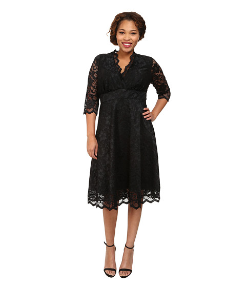 Kiyonna - Mademoiselle Lace Dress (Onyx) Women