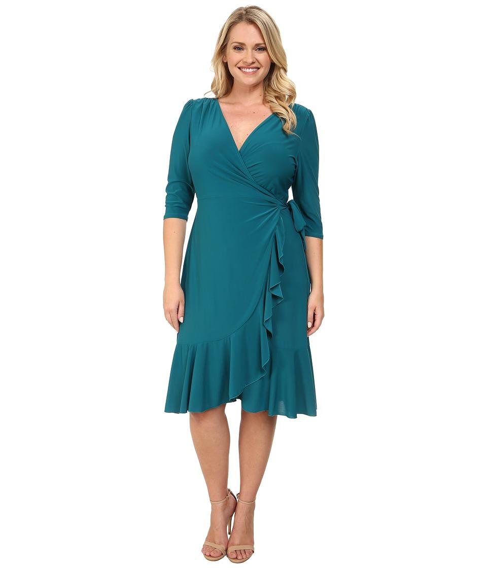 Kiyonna - Whimsy Wrap Dress (Pacific Teal) Women's Dress