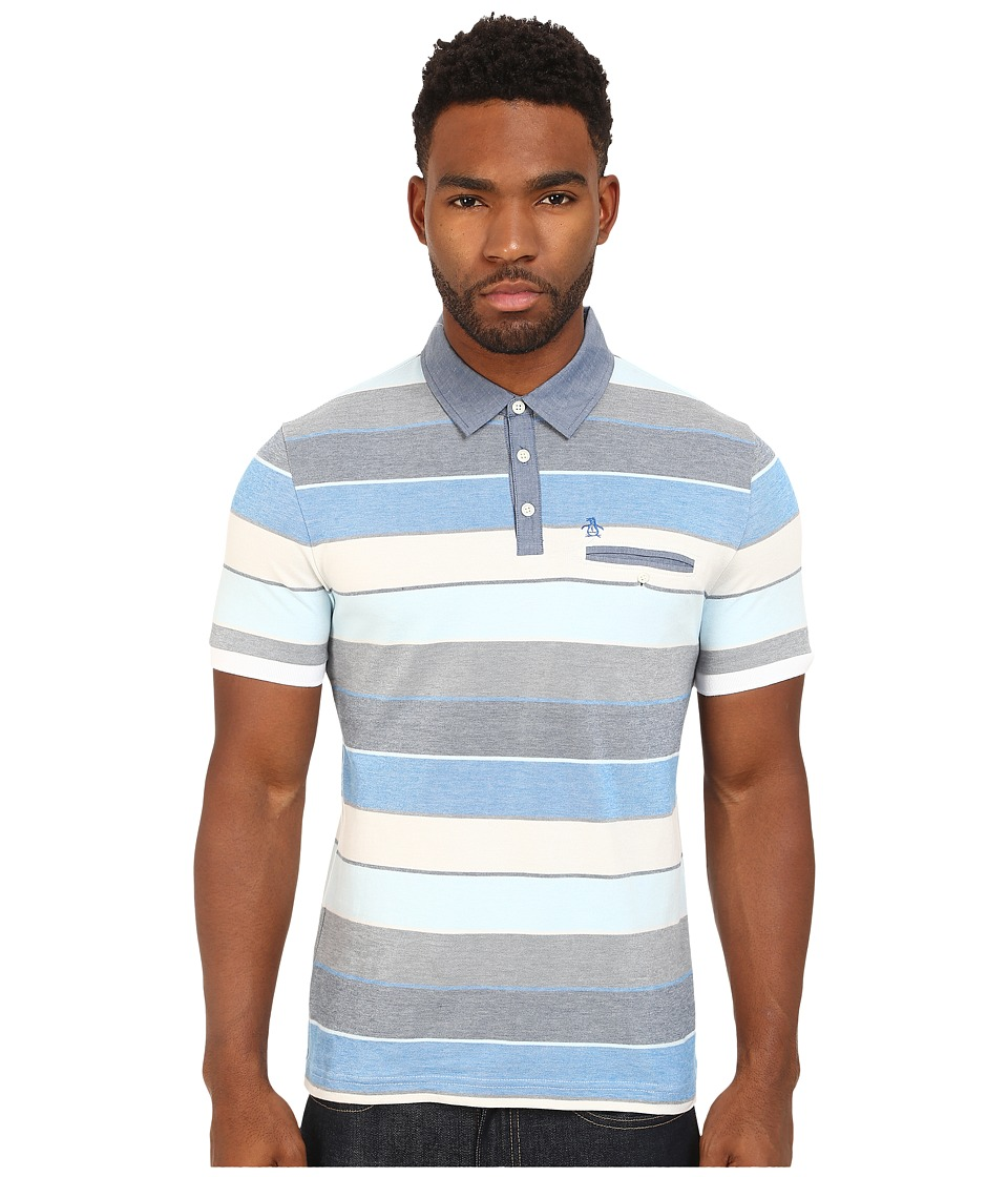 Original Penguin - Carpet Stripe Polo with Chambray Collar Heritage (Skydiver) Men