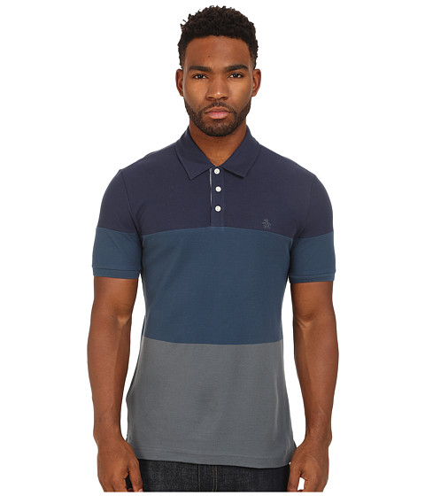 Original Penguin - Color Block Heritage Polo (Dress Blues) Men's Clothing