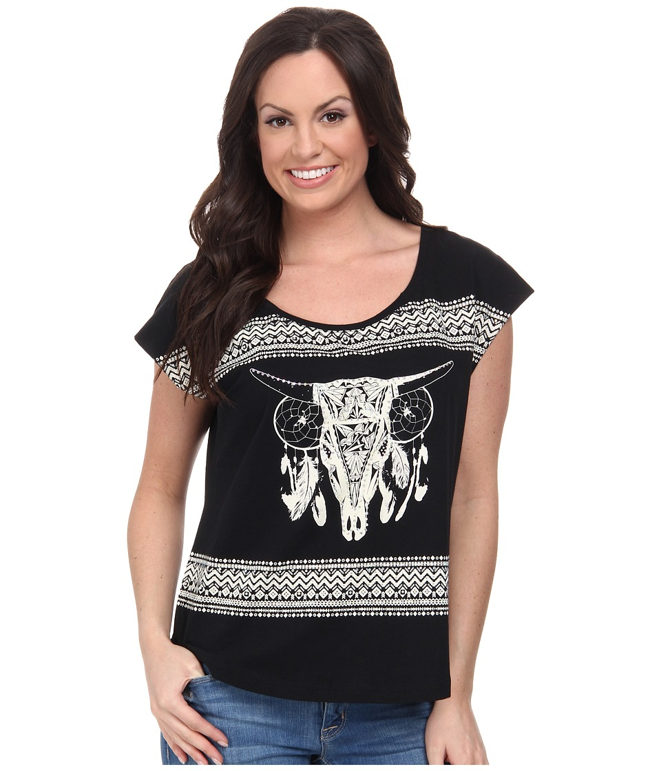 Rock and Roll Cowgirl - Short Sleeve Boxy Tee 47-3388 (Black) Women's T Shirt