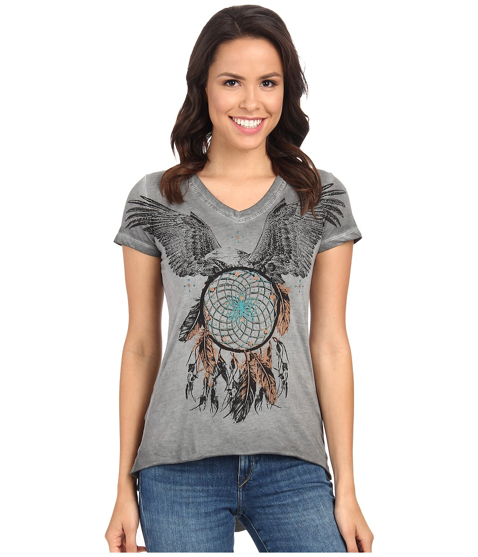 Rock and Roll Cowgirl - Short Sleeve Knit 47-3408 (Charcoal) Women's T Shirt