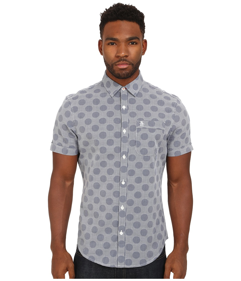 Original Penguin - Dobby Polka Dot Woven Short Sleeve Heritage Shirt (Dress Blues) Men's Short Sleeve Button Up