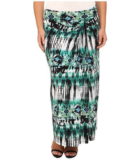 Kiyonna - Jetsetter Maxi Skirt (Sea Breeze Tie-Dye Print) Women's Skirt
