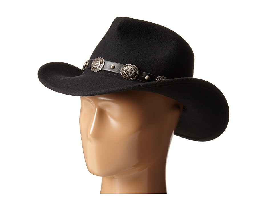 San Diego Hat Company - WFH7946 Wool Felt Cowboy Hat with Leather Concho Band (Black) Caps