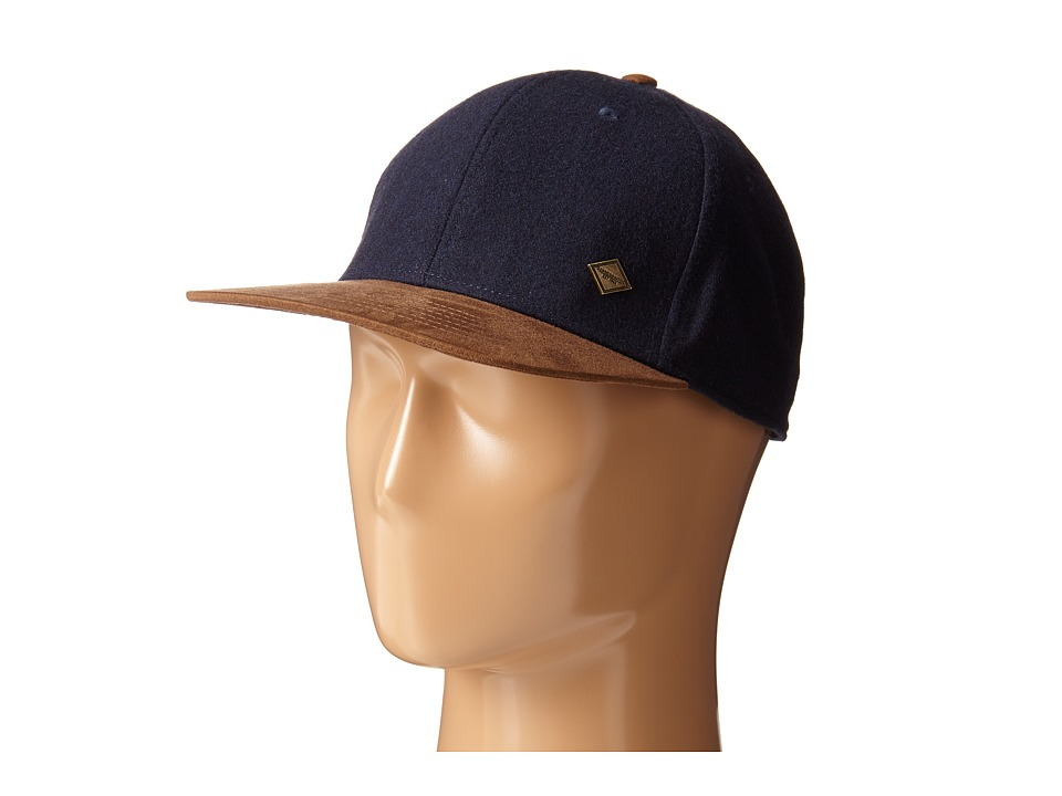 San Diego Hat Company - SDH2045 Wool Cap with Faux Fur Suede Bill and Adjustable Back (Navy) Caps