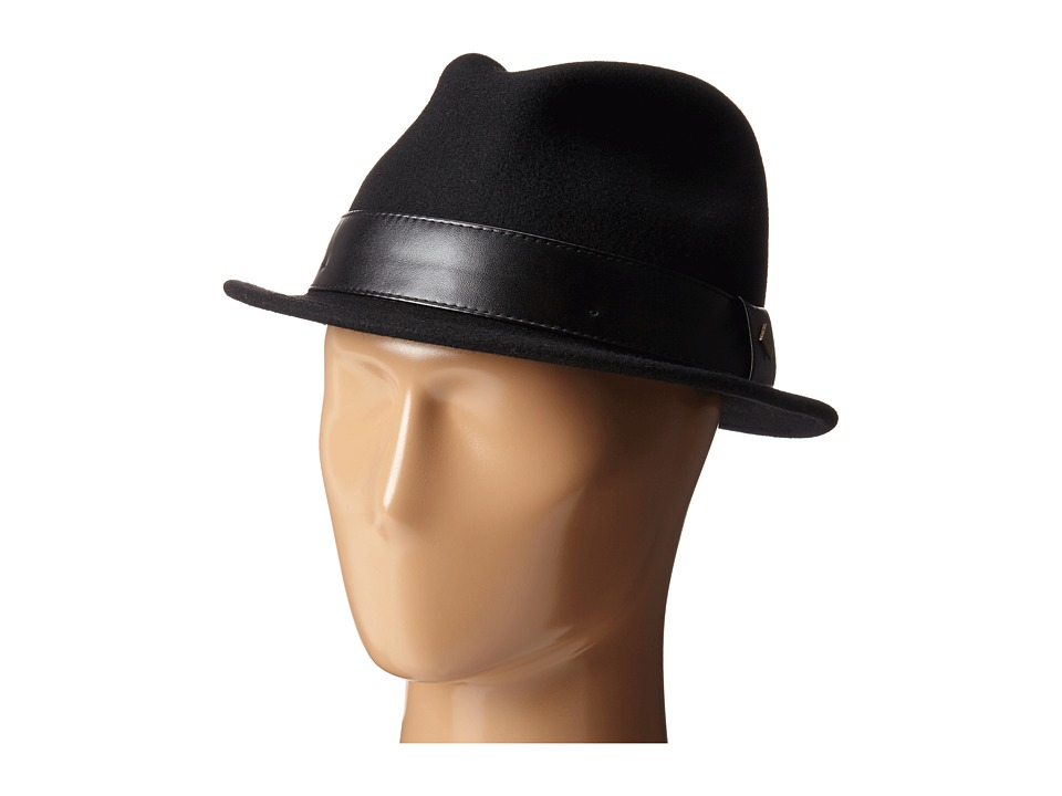 San Diego Hat Company - SDH2037 Fedora with Black Faux Leather Band (Black) Fedora Hats