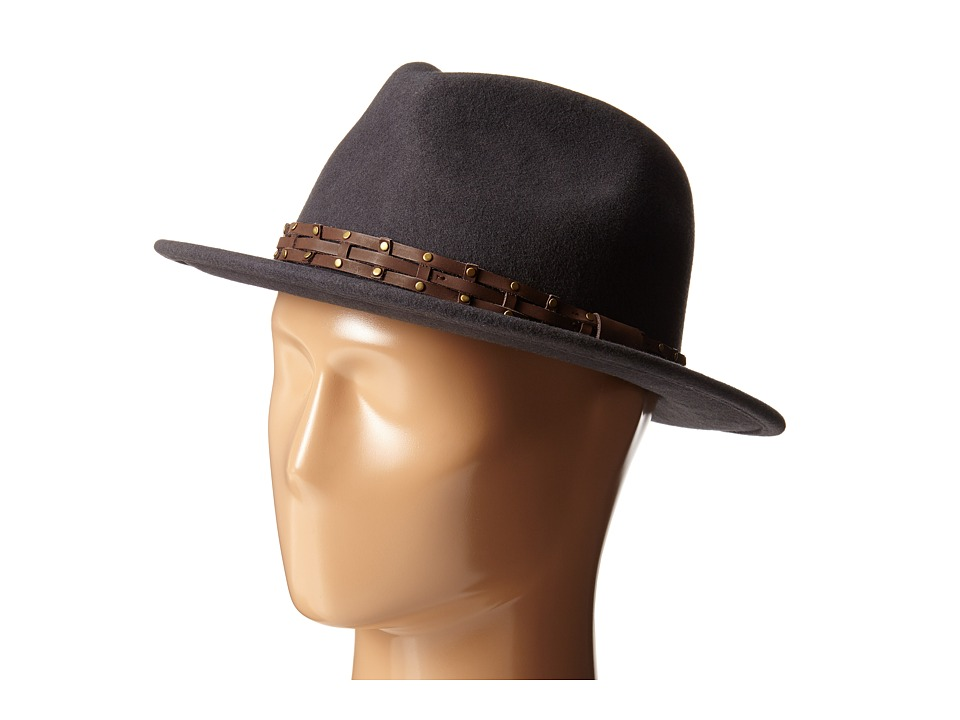 San Diego Hat Company - WFH8005 Fedora with Brown Leather Trim (Grey) Fedora Hats