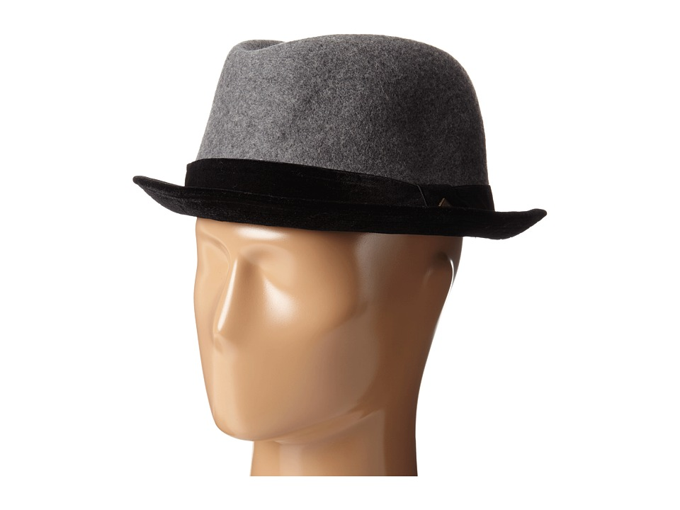 San Diego Hat Company - SDH2039 Wool Felt Crown with Velvet Brim Porkpie (Black) Caps