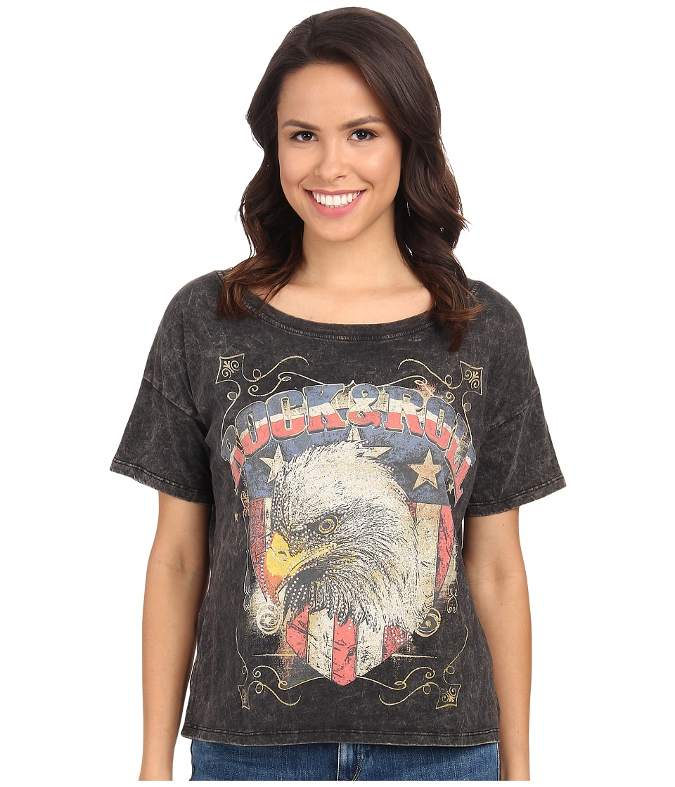 Rock and Roll Cowgirl - Short Sleeve Oversize Tee 49T3380 (Black) Women's T Shirt
