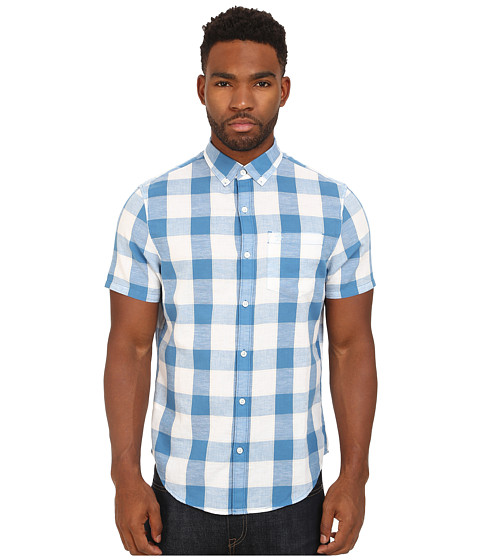 Original Penguin - Nep Check Short Sleeve Woven Heritage Shirt (Vallarta Blue) Men's Short Sleeve Button Up