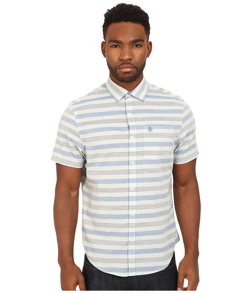 Original Penguin - Horizontal Stripe Short Sleeve Woven Heritage Shirt (Cool Blue) Men's Short Sleeve Button Up